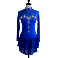 Figure Skating Dress Women's Girls' Ice Skating Dress Aquamarine Rhinestone High Elasticity Performance Skating Wear Handmade