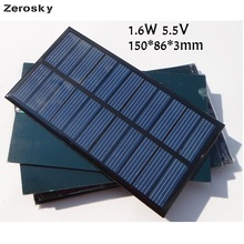 Zerosky 1.6W 5.5V Mini Solar Cell Polycrystalline Solar Panel DIY Solar Charger Education 150*86*3MM 1PC