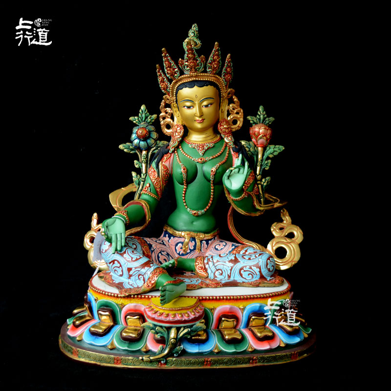 Зеленая Тара Будда/Непал/Чистая медь с золотым предметы мебели/Тибетский Tantra цветной рисунок или узор