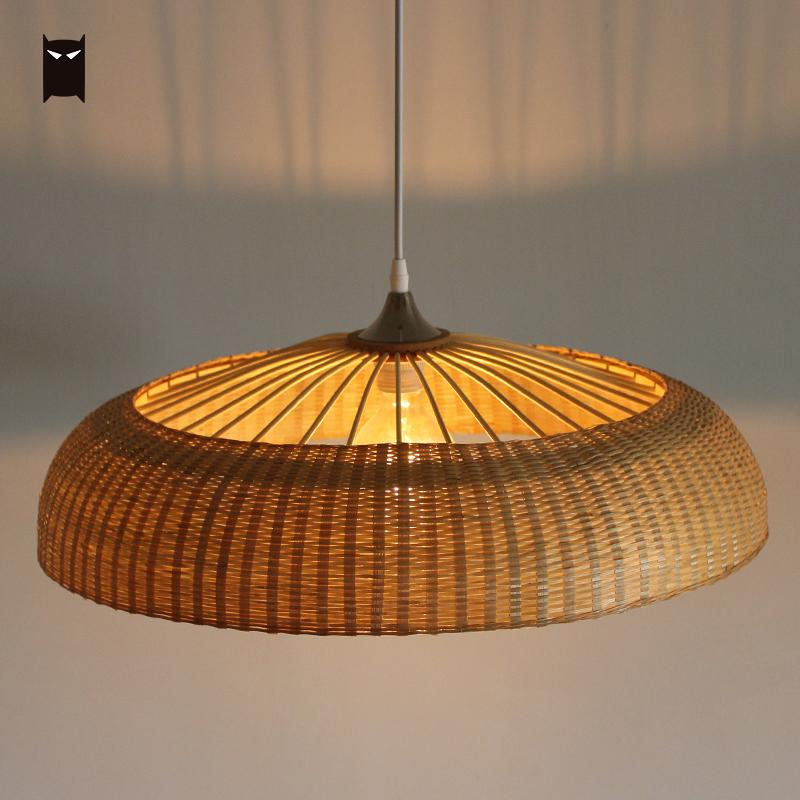 60cm Bamboo Wicker Rattan Ring Shade Pendant Light Fixture Rustic Vintage Primitive Hanging Lamp Design Restaurant E27 E26 Bulb chinese style rustic lantern bamboo rattan knitted classical led pendant light bedroom e26 e27 7w bulb 96 240v decorative lamp