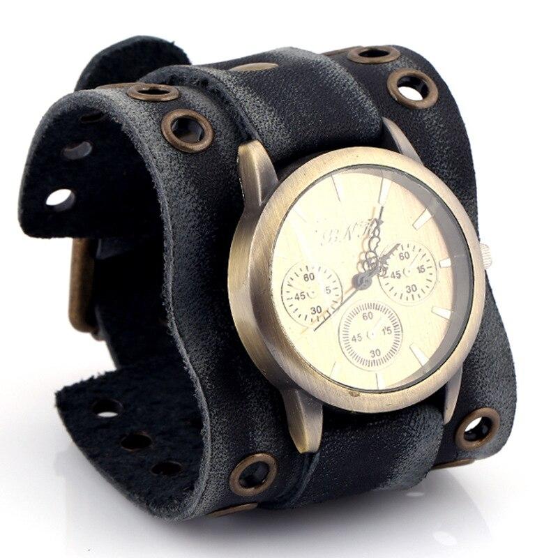 Vintage Unisex Watch Bracelet Cowhide Pentagram Circle Dial Handmade Beautiful Charm Decorate Individual Accessory Christma Gift