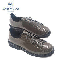 VAIR MUDO Elegant Women Single Shoes Genuine Leather Casual Top Quality Handmade Gray Lace-up D11