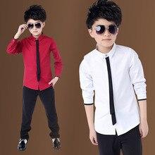 Лидер продаж, детские красные рубашки для мальчиков коллекция года, весенние классические однотонные белые топы, хлопковая рубашка с длинными рукавами для детей возрастом от 4 до 15 лет, Осенняя детская одежда