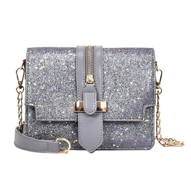 Women Glitter Sequins Handbags Fashion Designer Female Shoulder Bag Long Chain Messenger Bags Small Crossbody