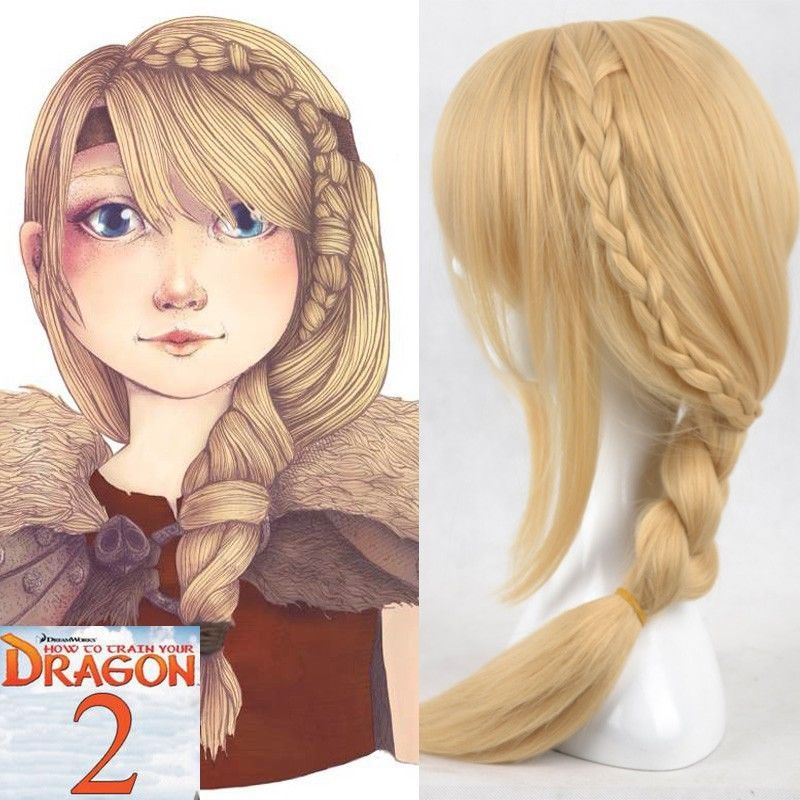 New Movie How To Train Your Dragon 2 Astrid Long Braid Cosplay Wigs for women +Wig Cap