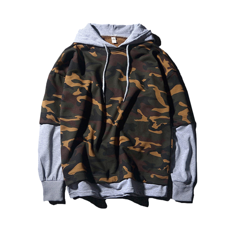 Autumn Camouflage Hoodies Men Hooded Sweatshirt Hip Hop Tracksuits Mens Fake Two Pieces Pullovers Male Streetwear Hombres F3