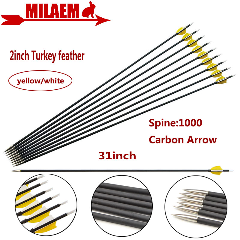6 12pcs 31inch Archery Carbon Arrow Spine1000 Composite Carbon Fiber Arrow ID4 2mm 2 quot Turkey Feather Hunting Shooting Accessories in Bow amp Arrow from Sports amp Entertainment