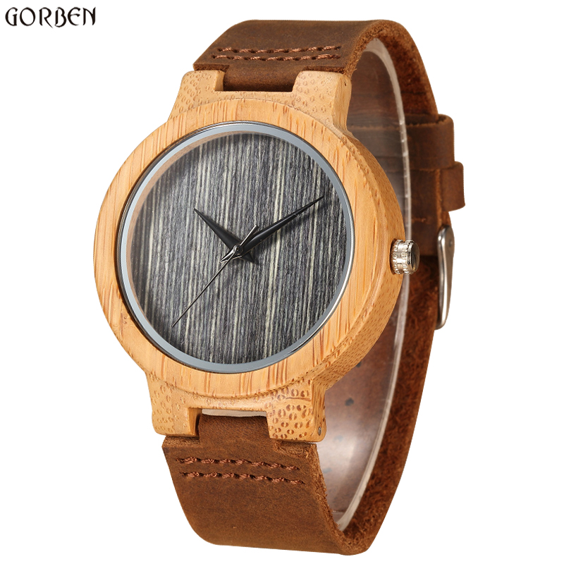 Retro Unique Natural Bamboo Quartz Watches For Male Wooden GreyTexture Dial Brown Cow Leather Band Mens Wrist Watches Gifts