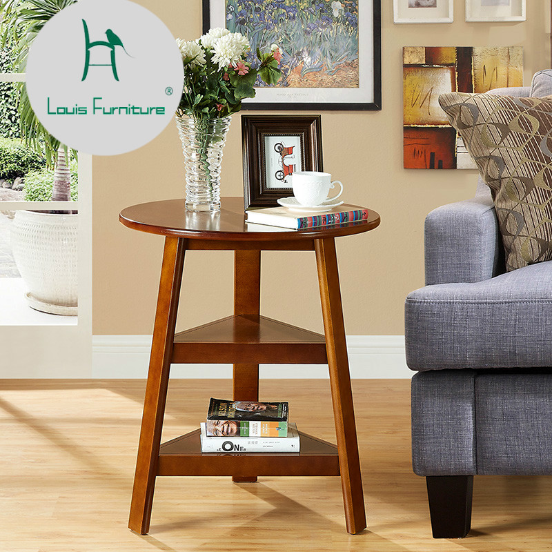 louis fashion sofas tables american solid wood small round side simple round small tea several coffee table