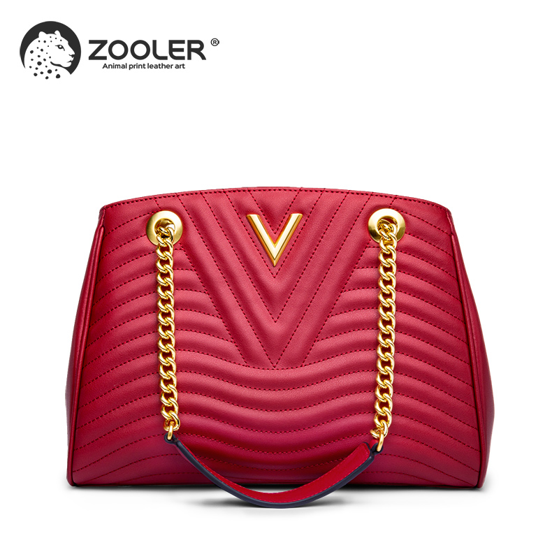 Hot New Genuine leather bags women ZOOLER 2019 luxury handbag women bags designer classic chains high quality handbags NT100 in Shoulder Bags from Luggage Bags