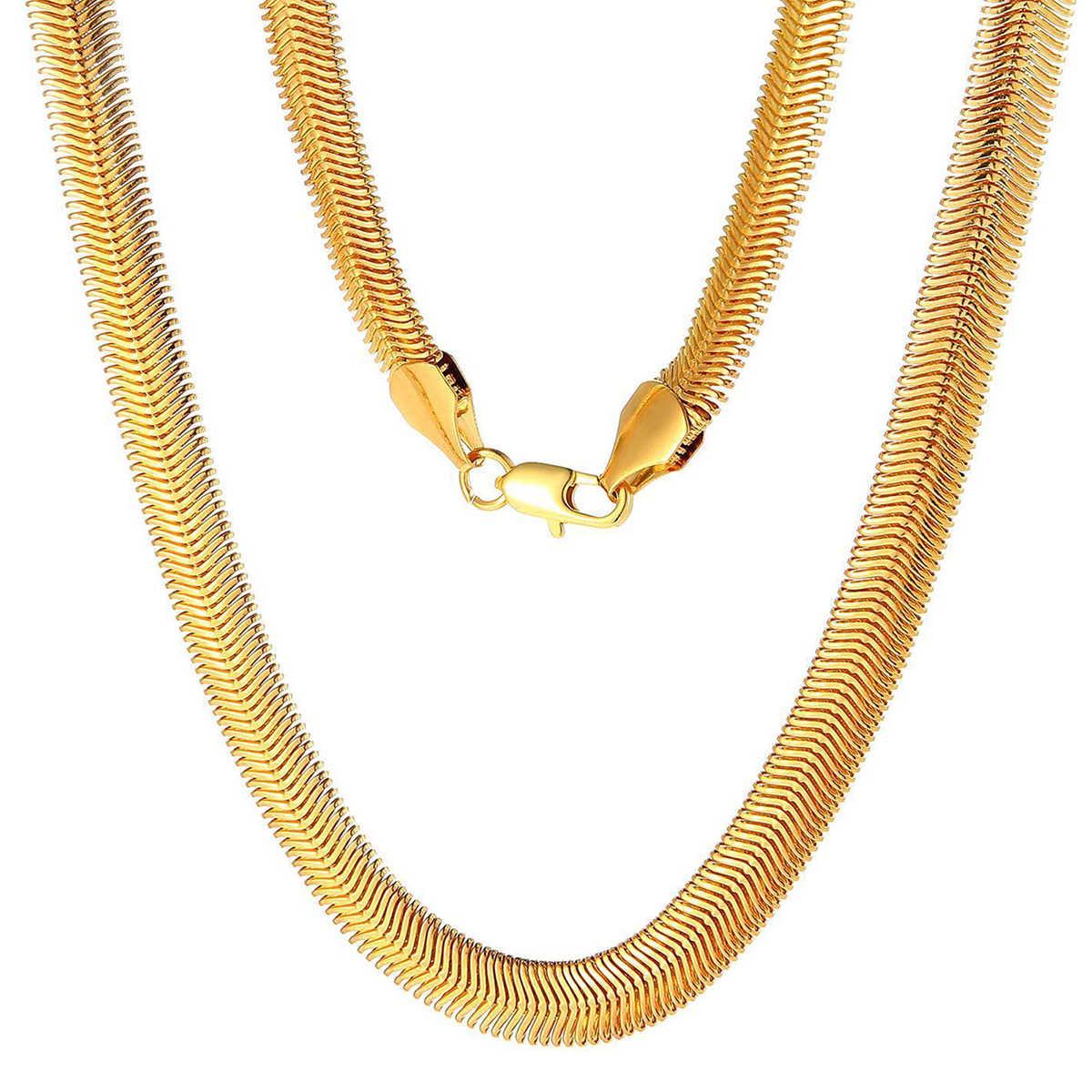 ผู้ชายทองแบนงูสร้อยคอ Shellhard Vogue 60 ซม.ยาวหนา Link สร้อยคอผู้หญิง Kolye เครื่องประดับ