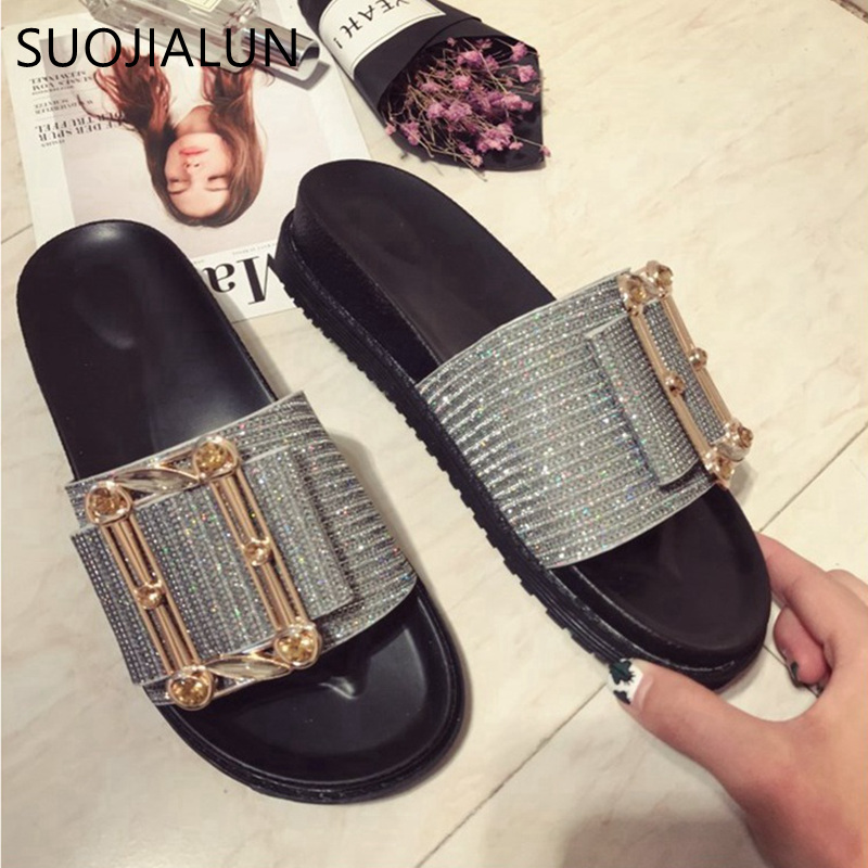 SUOJIALUN Women Slippers Flat Casual Women Shoes Slip On Slides Beach Slippers Fashion Buckle Beach Slippers Flip Flops Sandals 2016 summer patent leather buckle slides for women fashion stone upper flat platform ladies casual beach slippers sandals shoes