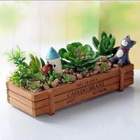Creative wooden meaty flowerpot tabletop cosmetics stationery storage box plant flowerpot small wooden box sorting miscellaneous