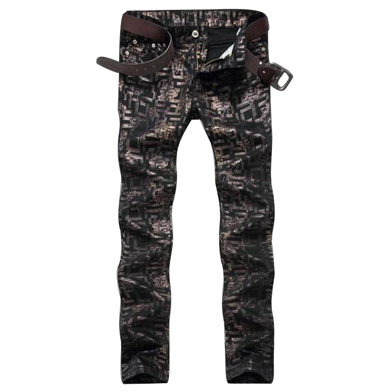 Fashion designer mens slim fit jeans clubwear personality straight printed pattern denim pants long trousers