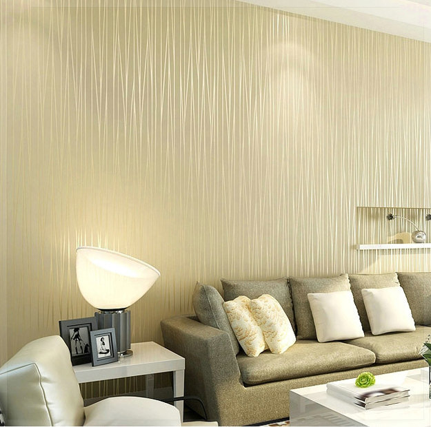 Non Woven Wallpaper Plain Minimalist Living Room Warm And Solid Vertical Striped Bedroom