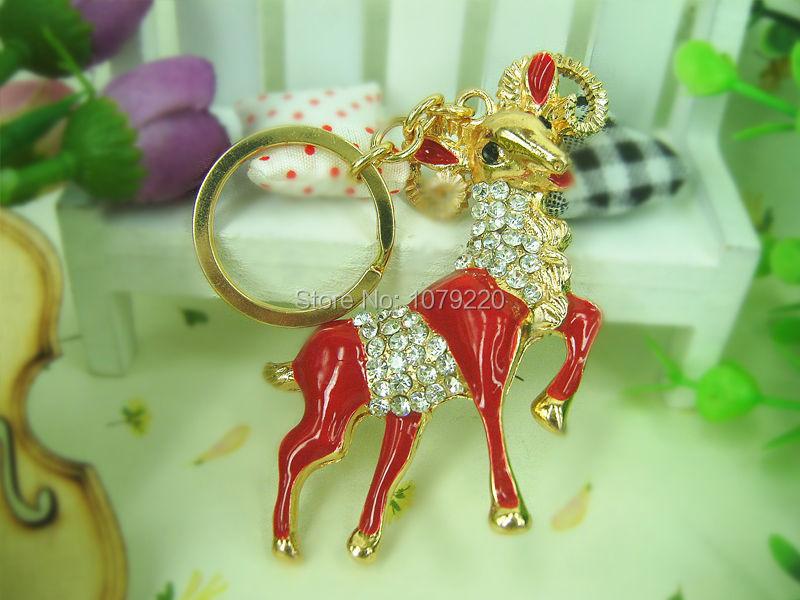 RT Sheep Keyring Fashion Beauty Jewelry Cute Rhinestone Crystal Charm Pendant Key Chain Bag Creative Gift Free shipping