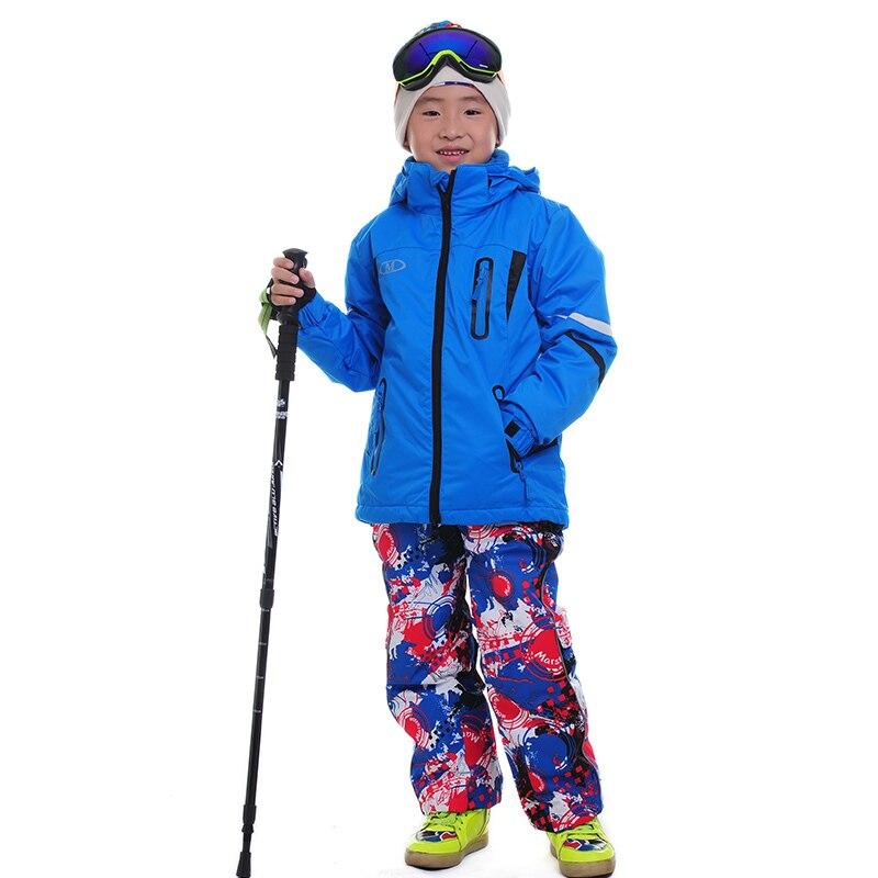 Prix pour 2016 Enfants Snowboard Costume Vestes Twinset Ski Pantalon En Plein Air Ski Garçons filles Ski Pantalon Chaud 3 dans 1 Veste Gilet Pantalon de Ski ensemble