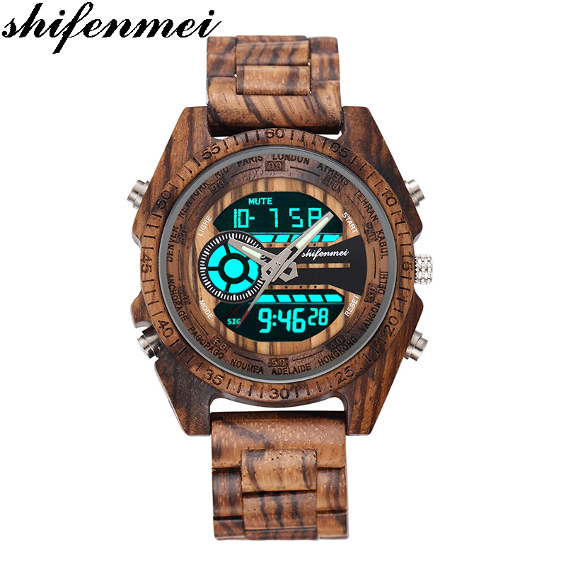 Shifenmei 2139 Antique Mens Zebra and Ebony Wood Watches with Double Display Business Watch in Wooden digital quartz watch(China)