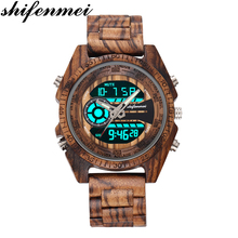 Shifenmei 2139 Antique Mens Zebra and Ebony Wood Watches wit