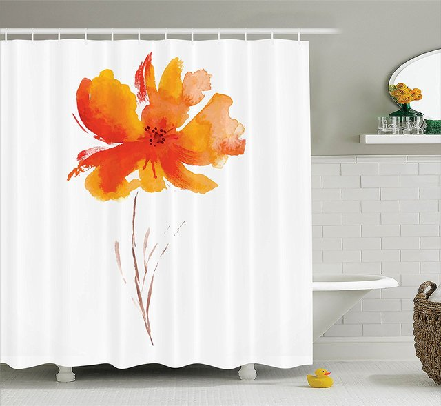 Memory Home Watercolor Flower Decor Shower Curtain Single Poppy Bathroom Accessories White Orange