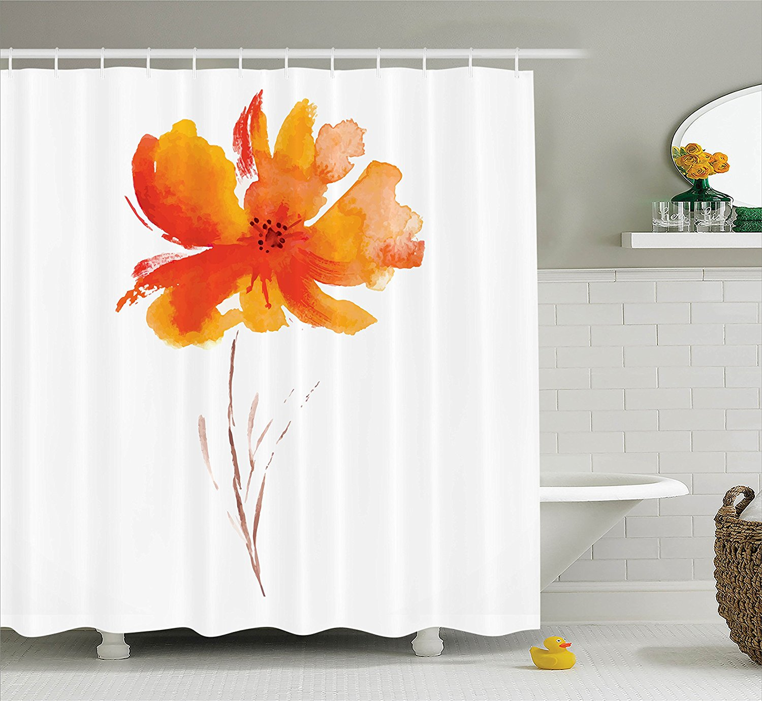 Memory Home Watercolor Flower Decor Shower Curtain Single Poppy Flower Bathroom  Accessories White Orange(China