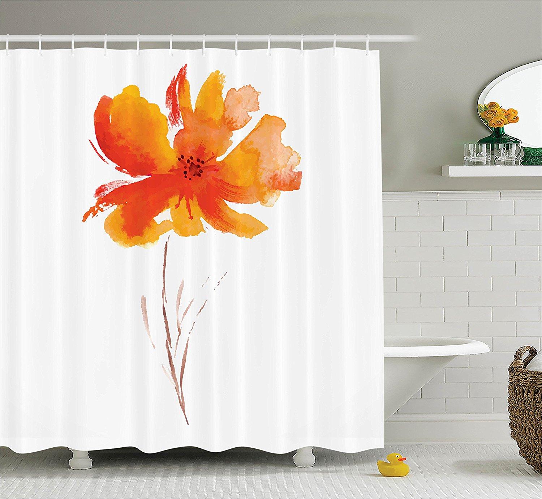 Memory Home Watercolor Flower Decor Shower <font><b>Curtain</b></font> Single Poppy Flower Bathroom Accessories White Orange
