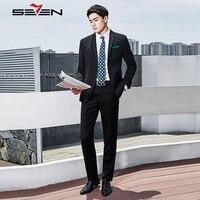 Seven7 Brand New Men's Fashion Black Suits Wedding Male Dress Suits Classic Casual Fit Business Suits (Jacket+Pants) 113C10090