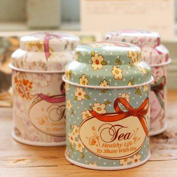 Свежий стиль конфеты Герметичные банки Коробка Цветочный дизайн металлический чай кофе сахар Жестяная Банка контейнер случайный цвет