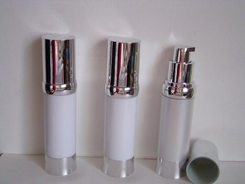 30ml  white airless bottle with silver  pump and silver lid/bottom base  for serum/lotion/foundation/emulsion packing