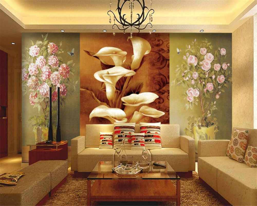 Beibehang wallpaper European oil painting on the wall flowers callas sitting room bedroom setting wall photo murals wallpaper the ivory white european super suction wall mounted gate unique smoke door