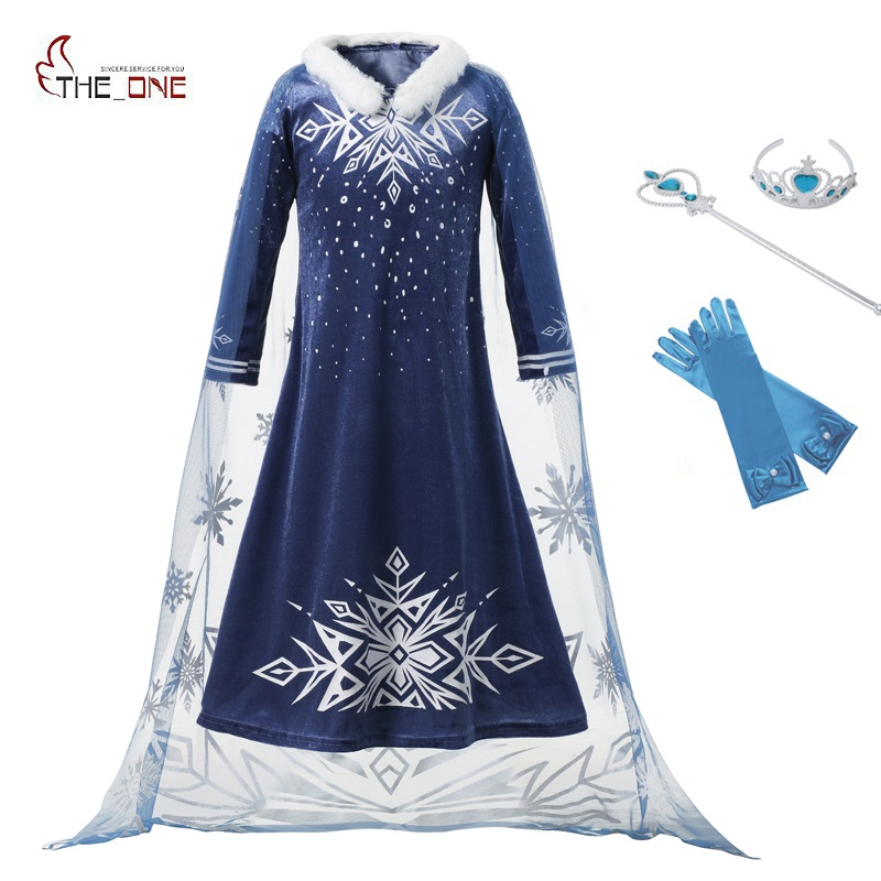 цена на MUABABY Girls Elsa Dress Kids Pleuche Long Sleeve Sequins Party Princess Cosplay Costume with Fur Collar Snowflake Cape for 1-10