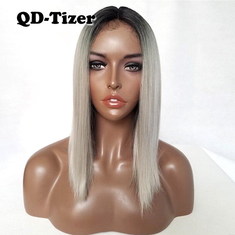 Qd-tizer peluca frontal de encaje sintético Ombre negro gris pelo resistente  al calor pelo liso pelucas cortas pelo Natural 1cb02d9742fe