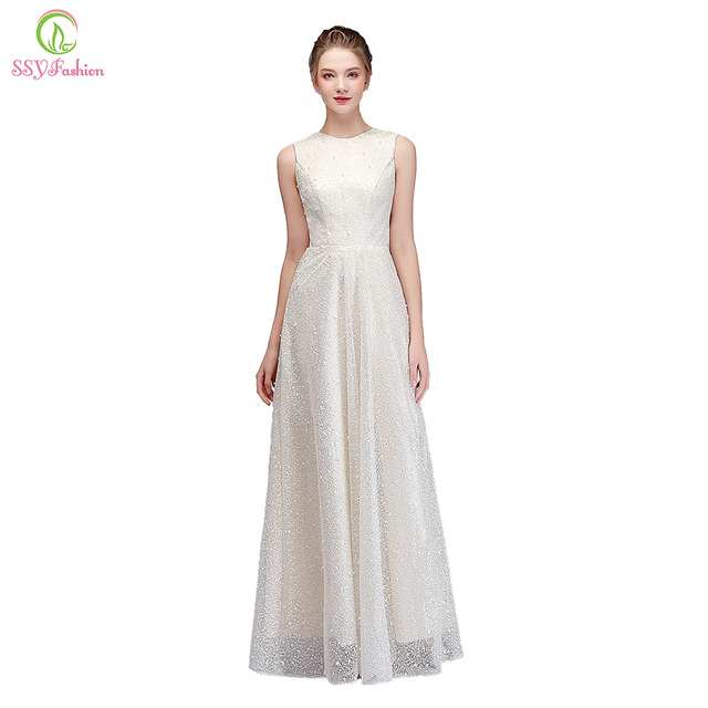 SSYFashion New Banquet Elegant Evening Dress Ivory Sleeveless Lace Beading  Floor-length Party Gown Formal 142a4e1a00fb