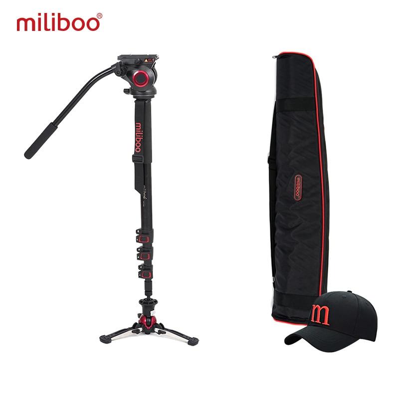 Miliboo Aluminium Carbone Portable Fluide Tête Caméra Monopode Professionnel Trépied pour Caméscope/DSLR Vidéo Stand Max Hauteur 187 cm