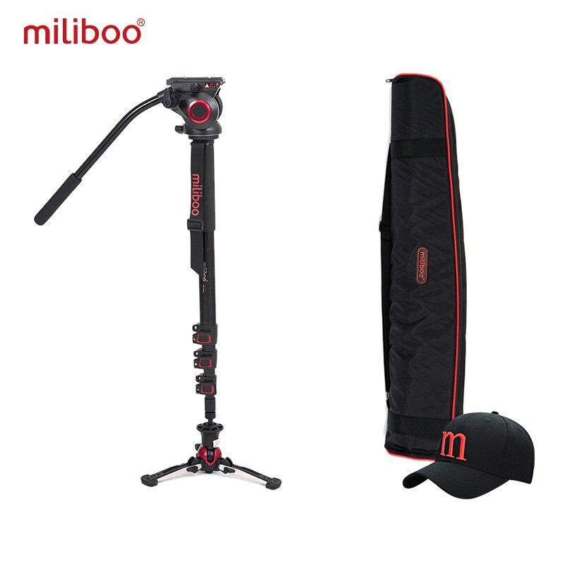 цена на miliboo Aluminum Carbon Portable Fluid Head Camera Monopod Professional Tripod for Camcorder /DSLR Video Stand Max Height 187cm