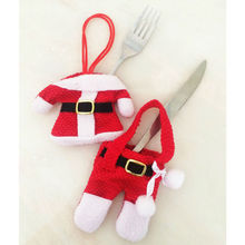 Houspace 6 Pcs Christmas Xmas New Year Santa Silverware Holders Christmas Decorations Pockets Dinner Decor 3 Clothes and 3 Pants