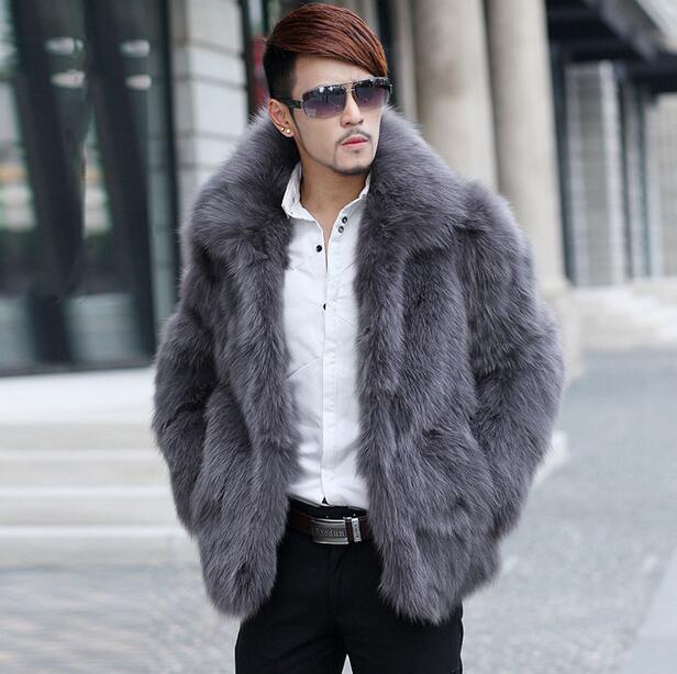뜨거운 판매 가짜 겨울 여우 모피 코트 망 가죽 자켓 남성 코트 겨울 가을 싱글 브레스트 아우터 5XL