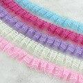 5 ярдов/партия, шифоновые кружевные ленты из органзы, сделай сам, шитье одежды и ткань, 4 см ширина, плиссированная кружевная лента
