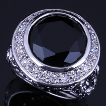 Fantastic Big Round Black Cubic Zirconia White CZ 925 Sterling Silver Ring For Women V0566