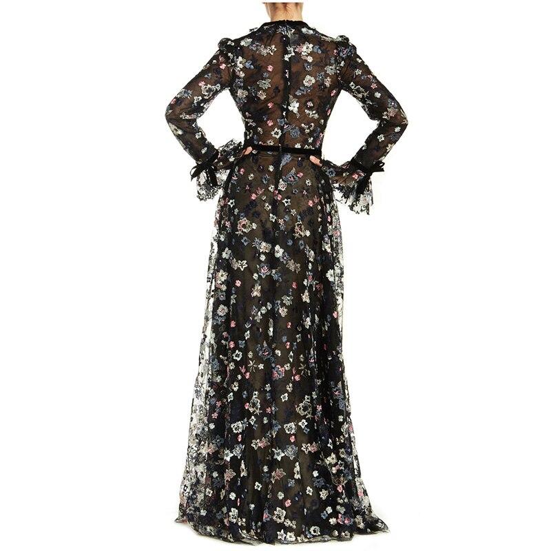 Printemps 2019 Longue Robe En Robes Tenue Fête De Piste Maille V Vintage Supérieure Col Qualité Élégant Plissée Floral Femmes Broderie rcFzr4p