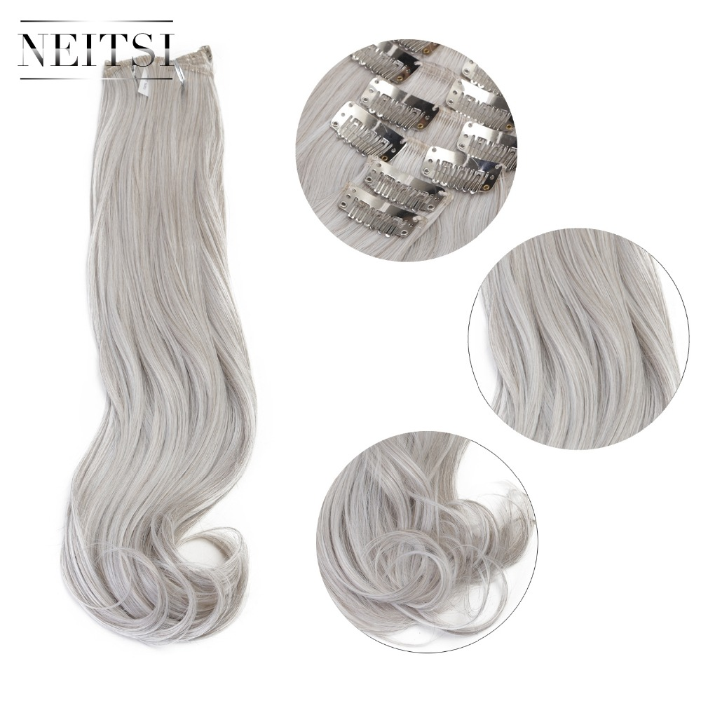 Neitsi 20'' 7Pcs/Set Curly Clip In Synthetic Hair Extensions Gray#