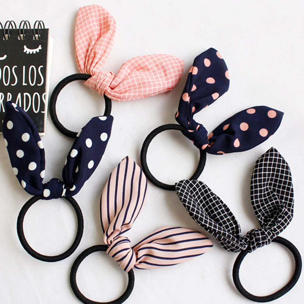 Hot Sale Fashion Lovely Rabbit Ear Scrunchies Hair Ties Striped Dot Elastic Hairband For Women Girl Hair Accessories New Arrival