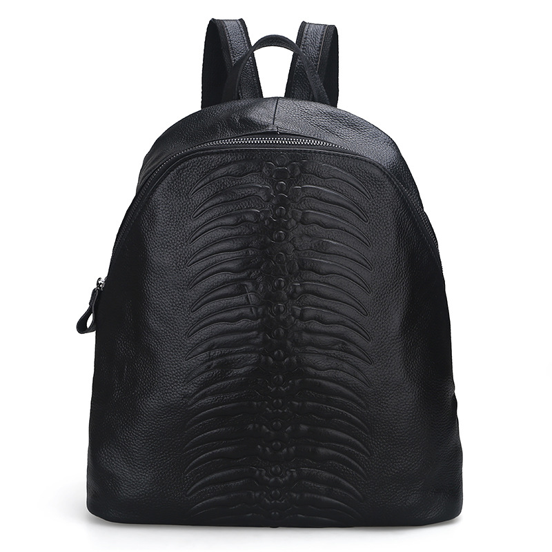 The new Korean fashion embossed leather embossed women s backpack first layer of cowhide ladies shoulder