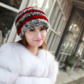 2016 Rex Rabbit fur Hat Real Russian winter Women's knitted Hat Rabbit fur hat Beanie hat MZ100