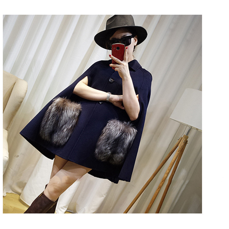 FURSARCAR 2018 New Luxury Winter Autumn Cashmer Real Gold Fox Fur Shawls Women Coats With Fur Pocket Fashion Fox Fur Female Cape