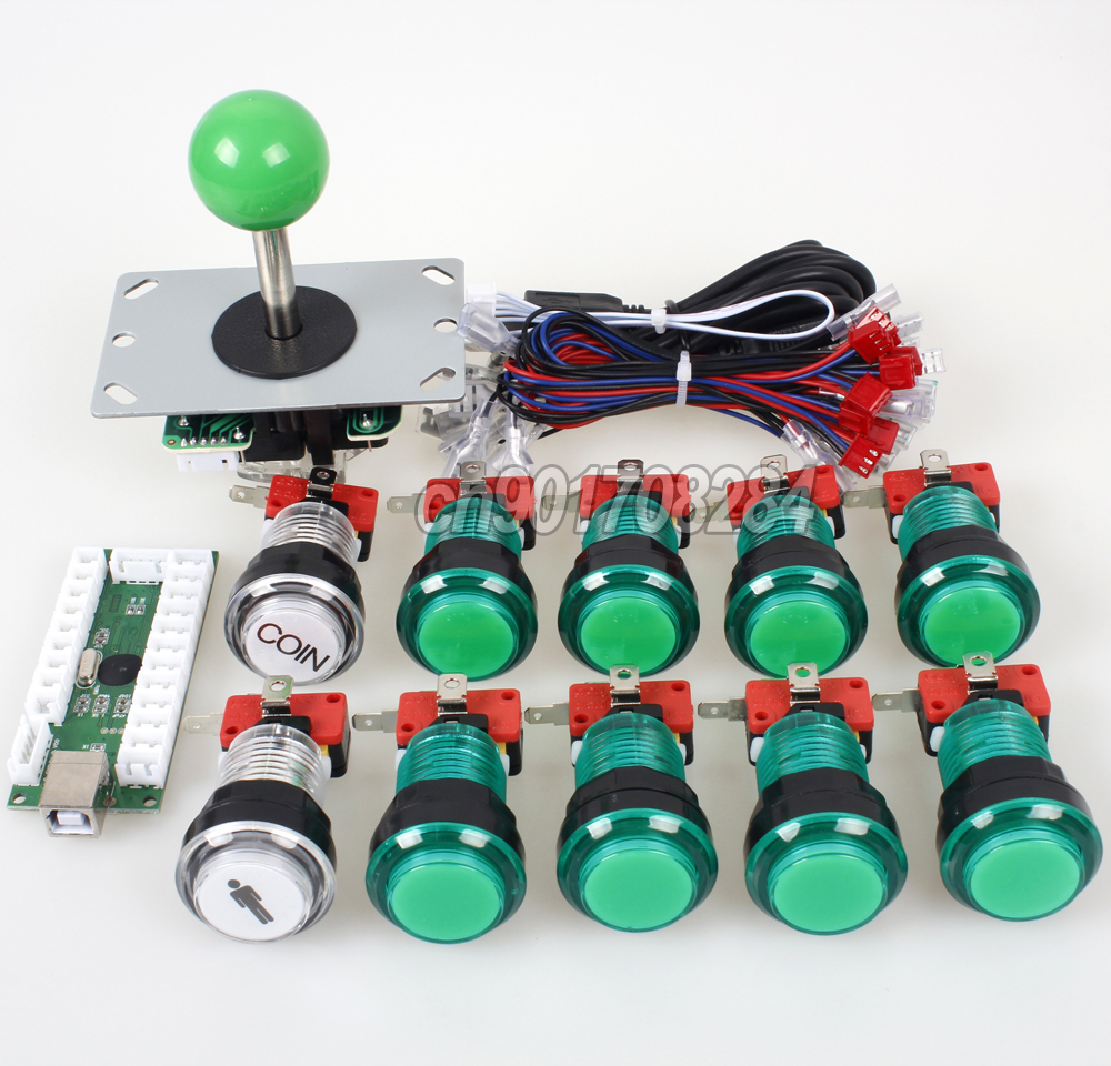 Arcade Control Panel 5pin Joystick 10 X Led Push Button