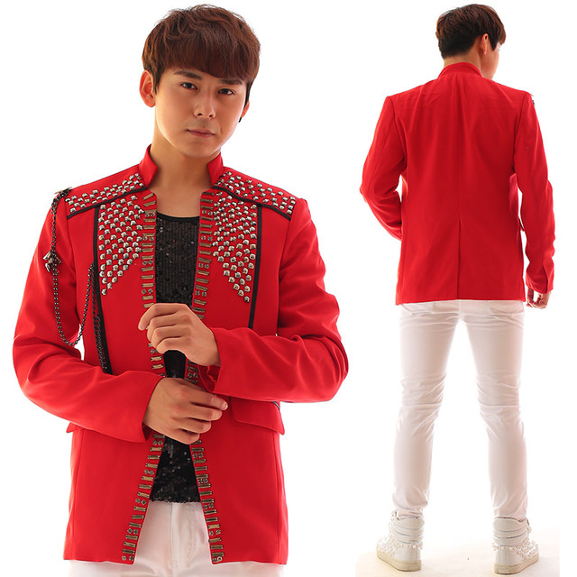 Fashion New Red Men's Jacket Handmade Rhinestones Chains Slim Casual Costumes Male Singer Dancer Stage Performance Wear Outfit