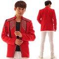 La moda de nueva hombres rojos de la chaqueta hecha a mano de cadena de los rhinestones ocasionales delgados trajes masculinos bailarín del cantante stage performance wear outfit