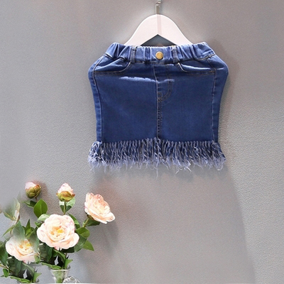 2016 verão new baby meninas saia amercian meninas borla estilo pettiskirt miúdos faldas terno 2 - 7 t azul escuro vestido infantil