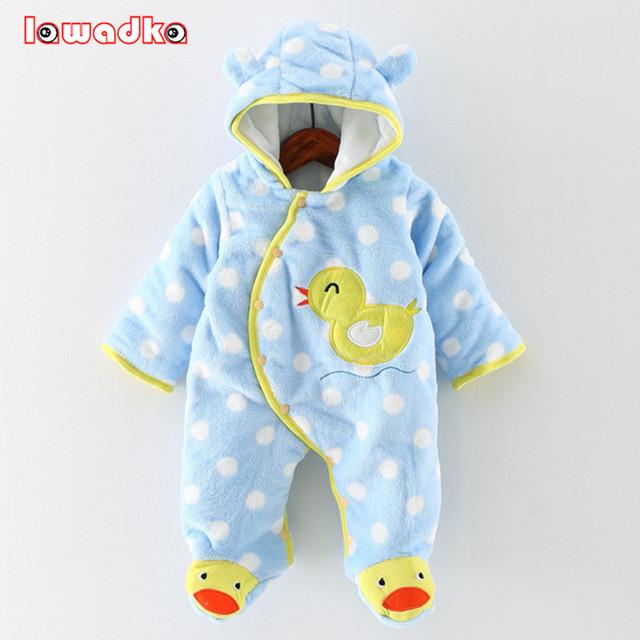 Macacão de bebê Inverno Quente Grosso Roupa Do Bebê Manga Longa Com Capuz Romper Do Bebê Menina Uma Peças de Roupas Macacões Infantil